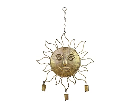 Hosley Iron Sun Face Large Wind Chimes 25- Inch High Handmade with Mini Cowbells