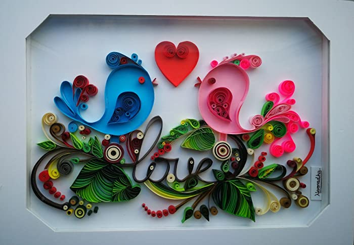 quilling wall art quilling art paper quilling love birds wedding rh amazon co uk paper quilling wall art designs quilling wall decoration designs