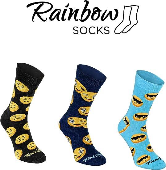 produced in the EU Emoji Socks Box Black blue great Gift colourful original socks dark blue socks by Rainbow Socks 3 emoticon pairs