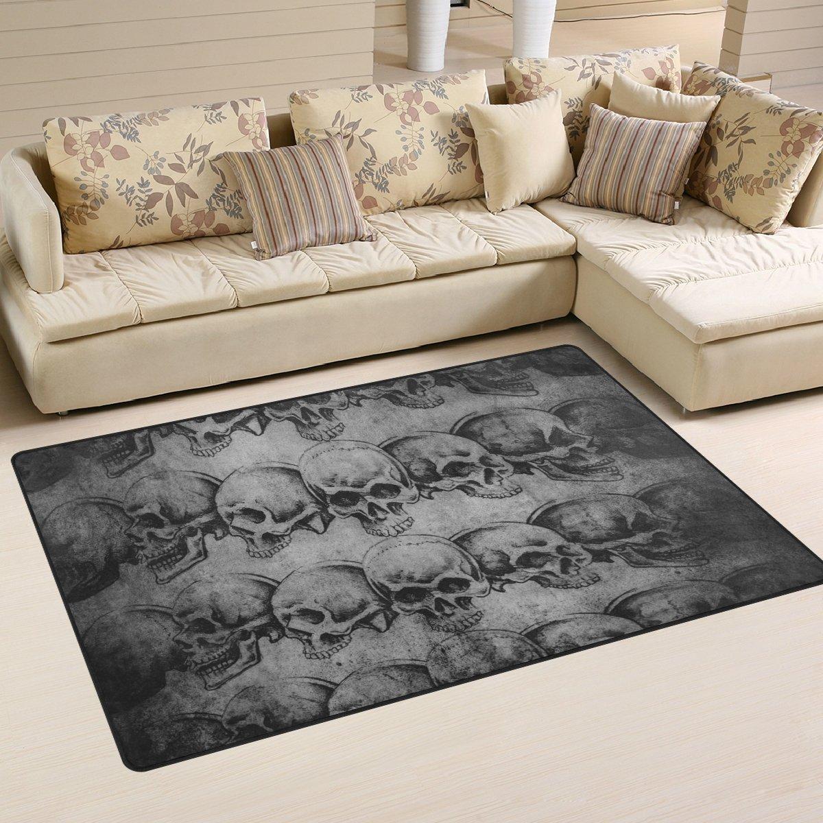 Naanle Sugar Skull Area Rug 3 x5 , Vintage Polyester Area Rug Mat for Living Dining Dorm Room Bedroom Home Decorative