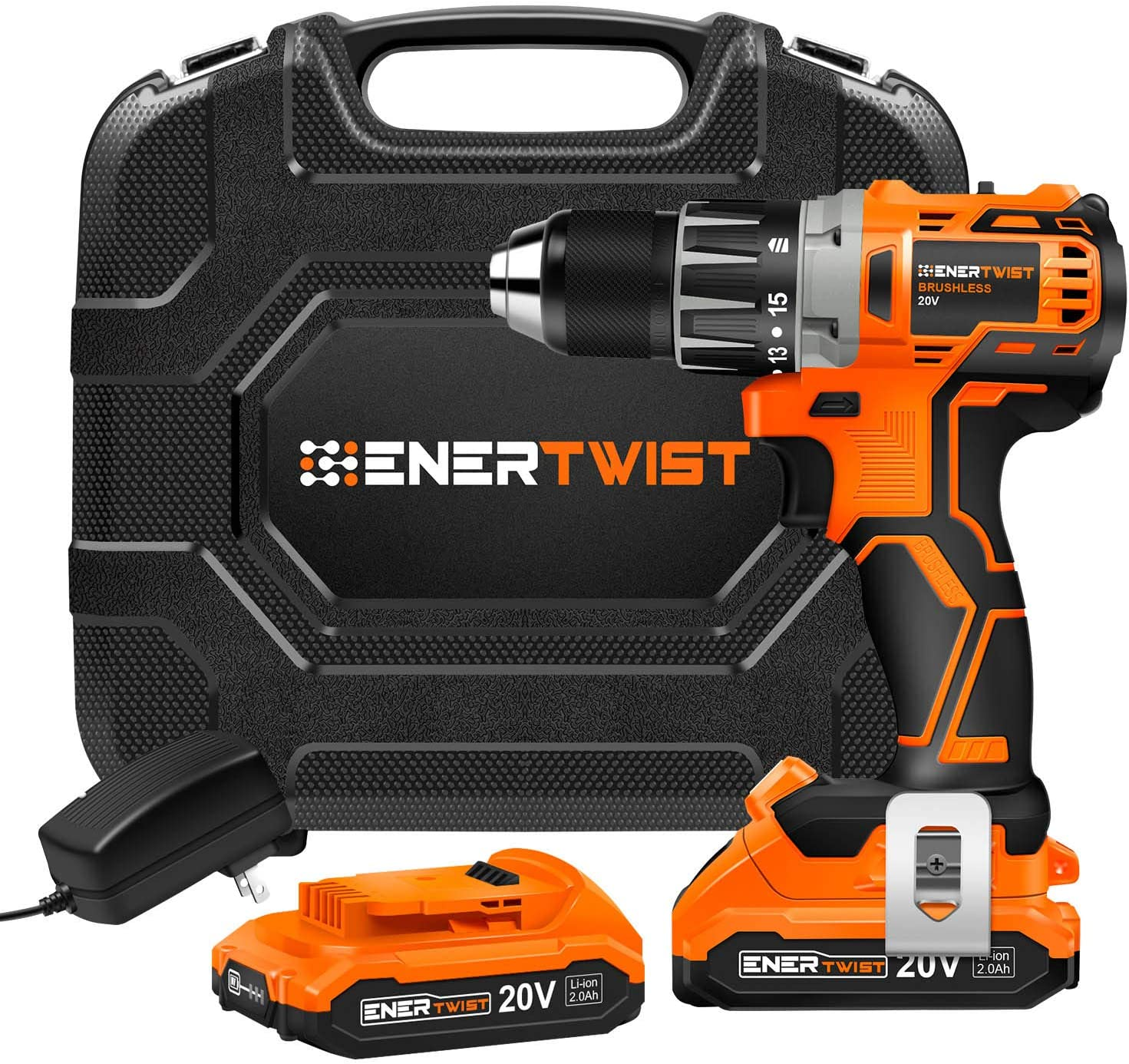 ENERTWIST Cordless Drill, 20V Max Brushless Power Drill Driver Set w/2 Lithium-Ion Batteries and Charger, 442 In-lb Torque, 1/2'' Keyless Chuck, Variable Speed, 16 Position, Built-in LED, Carrying Box