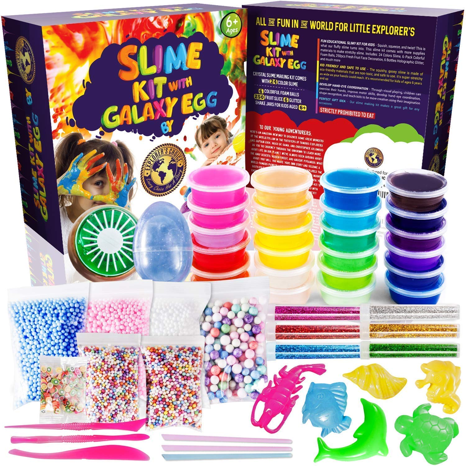 Slime Kit 2018 with Galaxy Egg include 24 Color Crystal Slime Containers, Fruit slime, Straws, Fruit slices, Foam balls and more supplies; New Slime Making Kit for Girls and Boys Kids