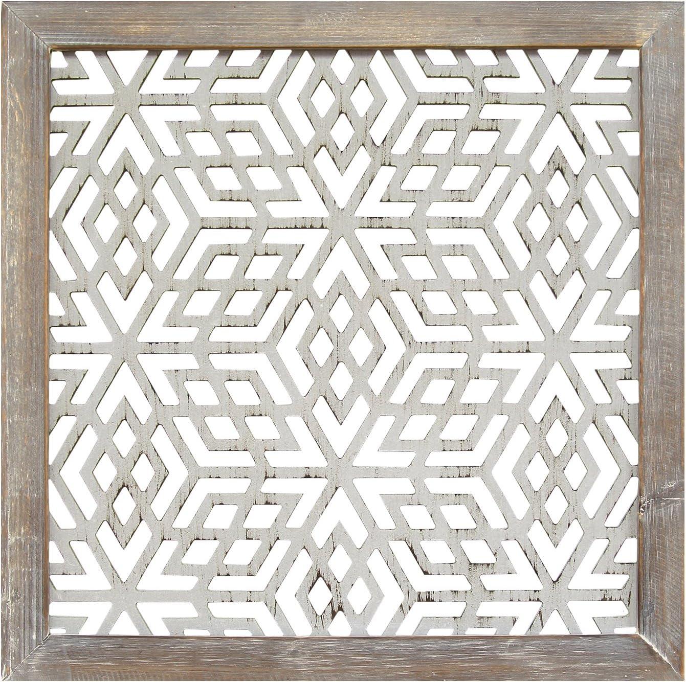 Stratton Home Decor S01939 1 Piece Framed Laser-Cut Wall Decor, 16.00 W x 1.00 D x 16.00 H, Distressed Grey