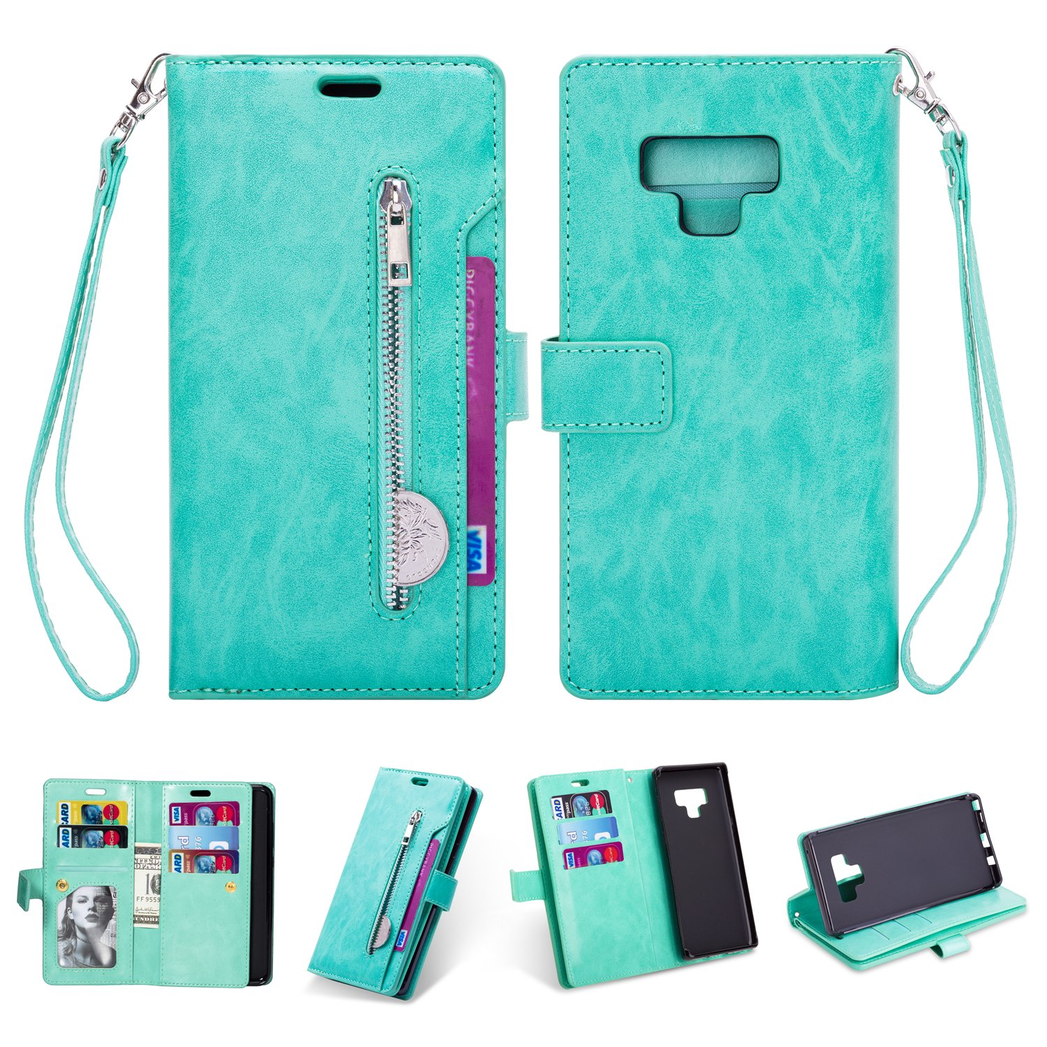 Sammid 2018 Case Galaxy Note 9, 6.4 inch Luxury PU Leather Hands-Free Stand Wallet Case with Built-in Credit Card/ID Card Slots for Samsung Galaxy Note 9 - Green
