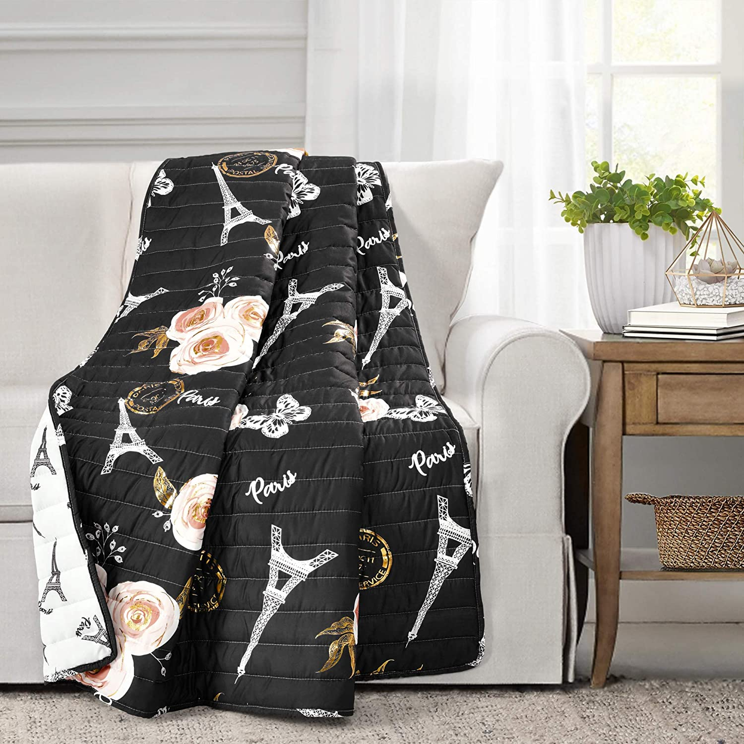 """Lush Decor, Black Reversible Throw Blanket, Vintage Print with Paris-Themed Design, Soft Polyester Fabric, Cozy Couch and Bed Accent (50"""" x 60"""
