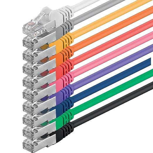 19 opinioni per 1aTTack CAT5 FTP- Cavo patch di rete con set di 2 spine RJ45, 10 pezzi 10 colori