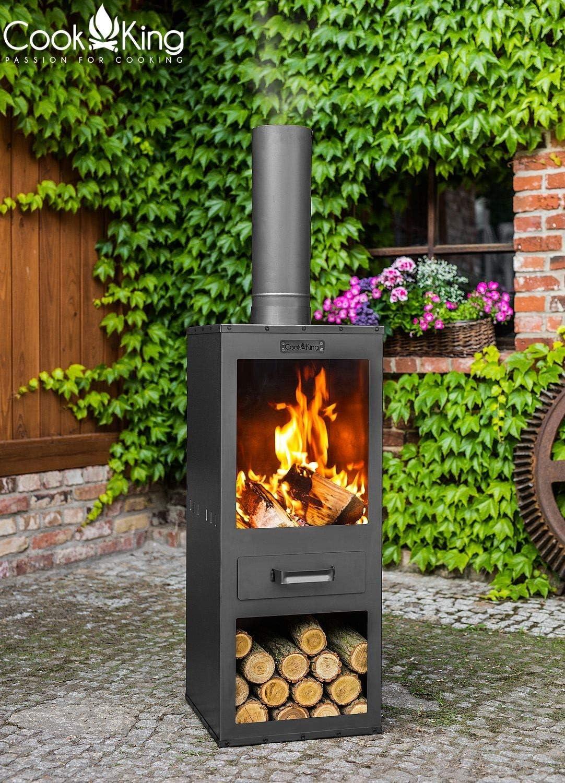 Gartenkamin Rosa Gartenofen H 150 cm zum Heizen und Grillen Terrassenofen aus Naturstahl Kamin Ofen CookKing