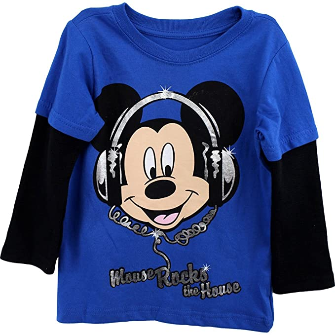 c672b3a2891 Mickey Mouse Toddler Boys Shirt Mickey Mouse Rocks The House Tee Blue (4T)