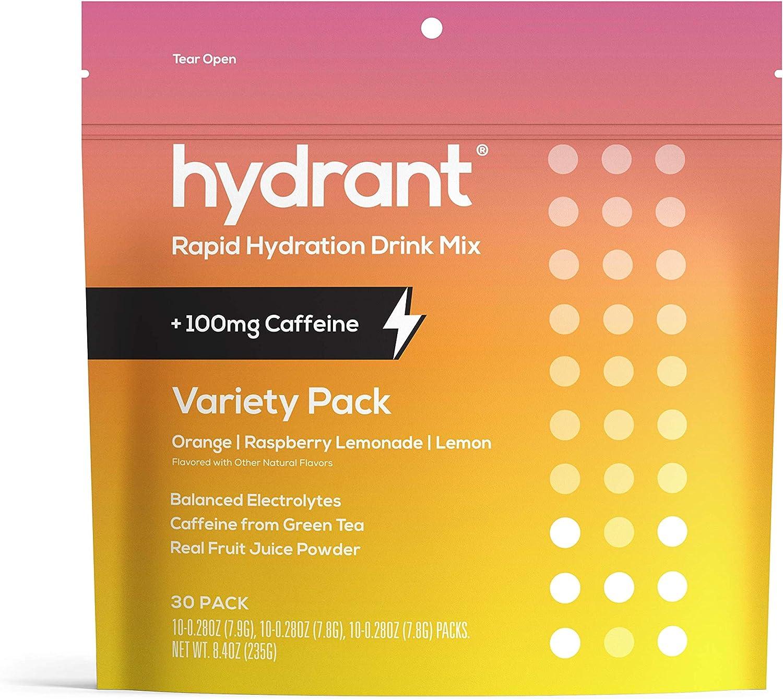 HYDRANT Electrolyte Powder Caffeine & L-Theanine Variety 30 Pack, Rapid Hydration Drink Mix, Rehydrate Electrolyte Mix, 10X Lemon, 10X Raspberry Lemonade, 10X Lemon Variety Pack, 30 Pack