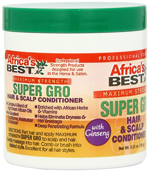 Amazon.com : Africas Best Maximum Strength Super Gro Hair Scalp Conditioner, 5.25 Ounce (Pack of 3) : Hair Styling Lotions : Beauty