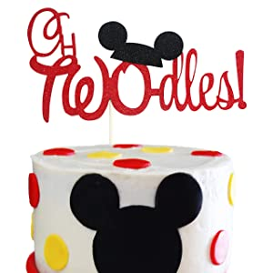 Mickey Twodles Cake Topper- Red and Black Glitter Mickey Cake Decor boy's Second Birthday Party Supplies
