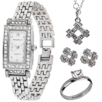 f86460113 Philip Mercier Ladies Bracelet Watch and Jewellery Set in a Gift Box:  Amazon.co.uk: Watches