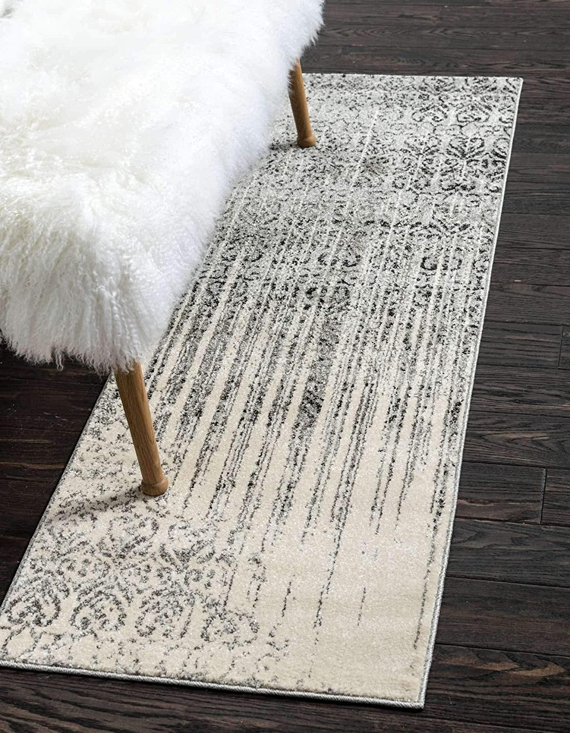 Unique Loom Del Mar Collection Contemporary Transitional Gray Runner Rug (2' 0 x 6' 0)