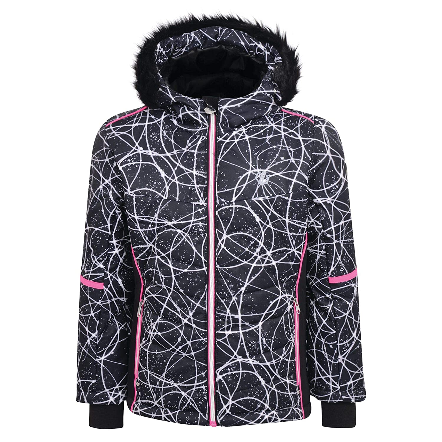 Dare 2b Girls Elusive Waterproof and Breathable High Loft Insulated Ski and Snowboard Jacket With Faux Fur Hood and Snowskirt