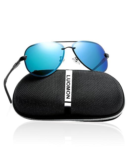e53fe60f284 LUOMON Men s Polarized Aviator Sunglasses Metal Black Frame Blue Mirrored  Lens with Al-Mg