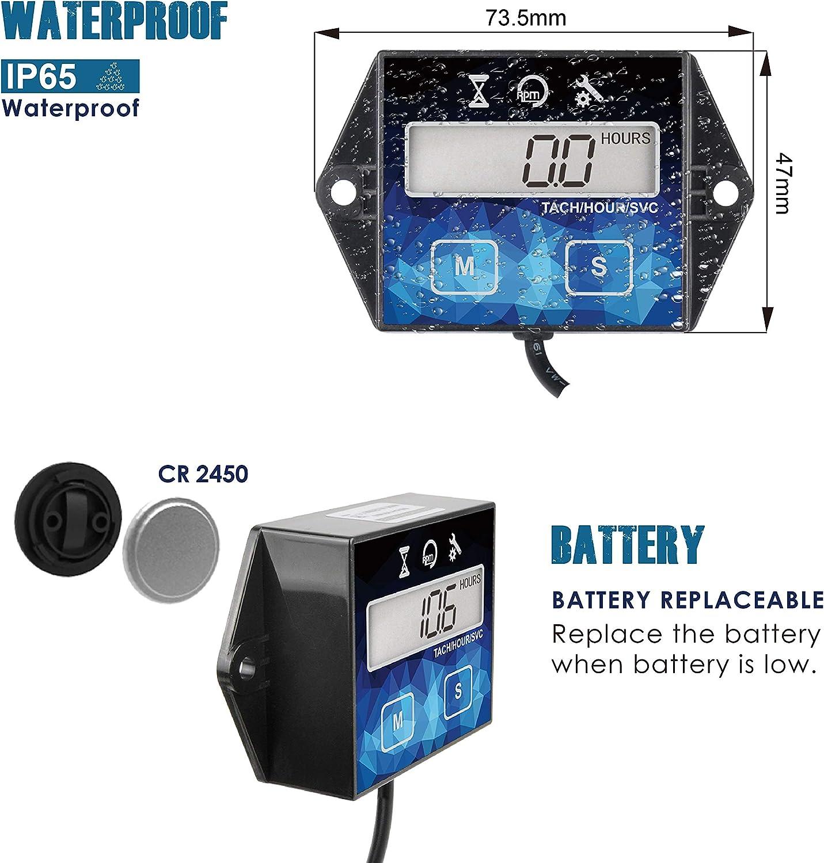Runleader Digitaler Betriebsstundenzähler Drehzahlmesser Wartungserinnerung Batterie Austauschbar Für Ztr Rasenmäher Traktor Generator Marine Außenborder Atv Motor Schneemobil Auto