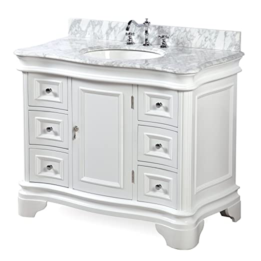 katherine 42inch bathroom vanity includes white cabinet with authentic italian carrara marble countertop and white ceramic sink