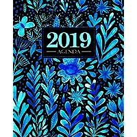 Agenda 2019: 19x23cm : Agenda 2019 semainier : fleurs aquarelles bleues 5715