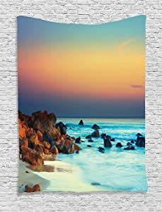 """Ambesonne Nature Tapestry, Colorful Sunset Over Sea Stones on Foreground Caribbean Coast Scenery Picture, Wall Hanging for Bedroom Living Room Dorm, 60"""" X 80"""", Turquoise Orange"""