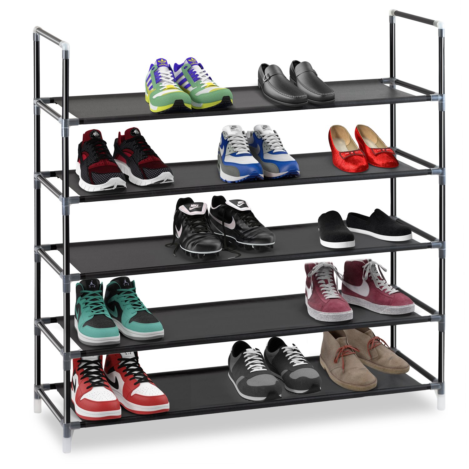 halter 5 tier stainless steel shoe rack shoe storage stackable shelves holds 15