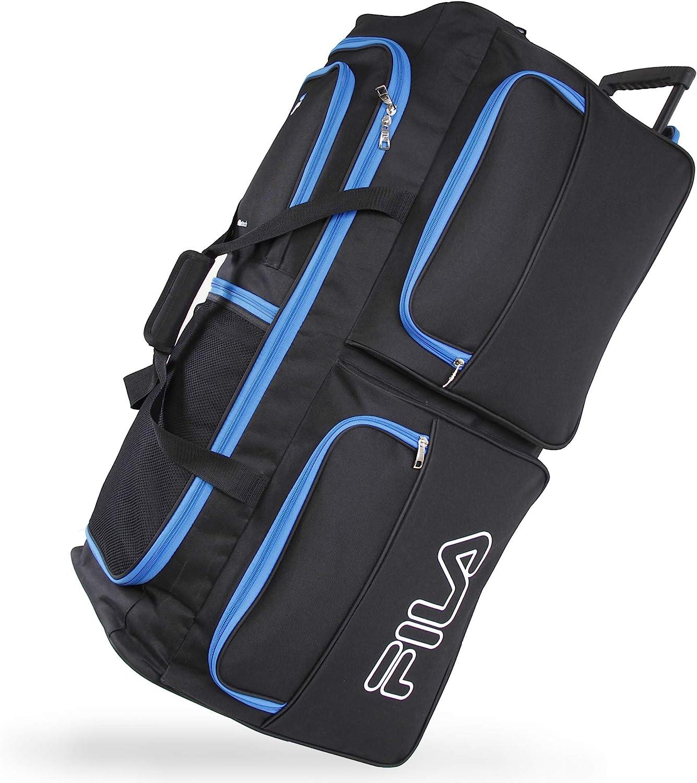 Fila 7-Pocket Large Rolling Duffel Bag, Black Blue, One Size