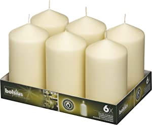 BOLSIUS Set of 6 Ivory Pillar Candles - 3x6 inch Unscented Candle Set - Dripless Clean Burning Smokeless Dinner Candle - Perfect for Wedding Candles, Parties and Special Occasions