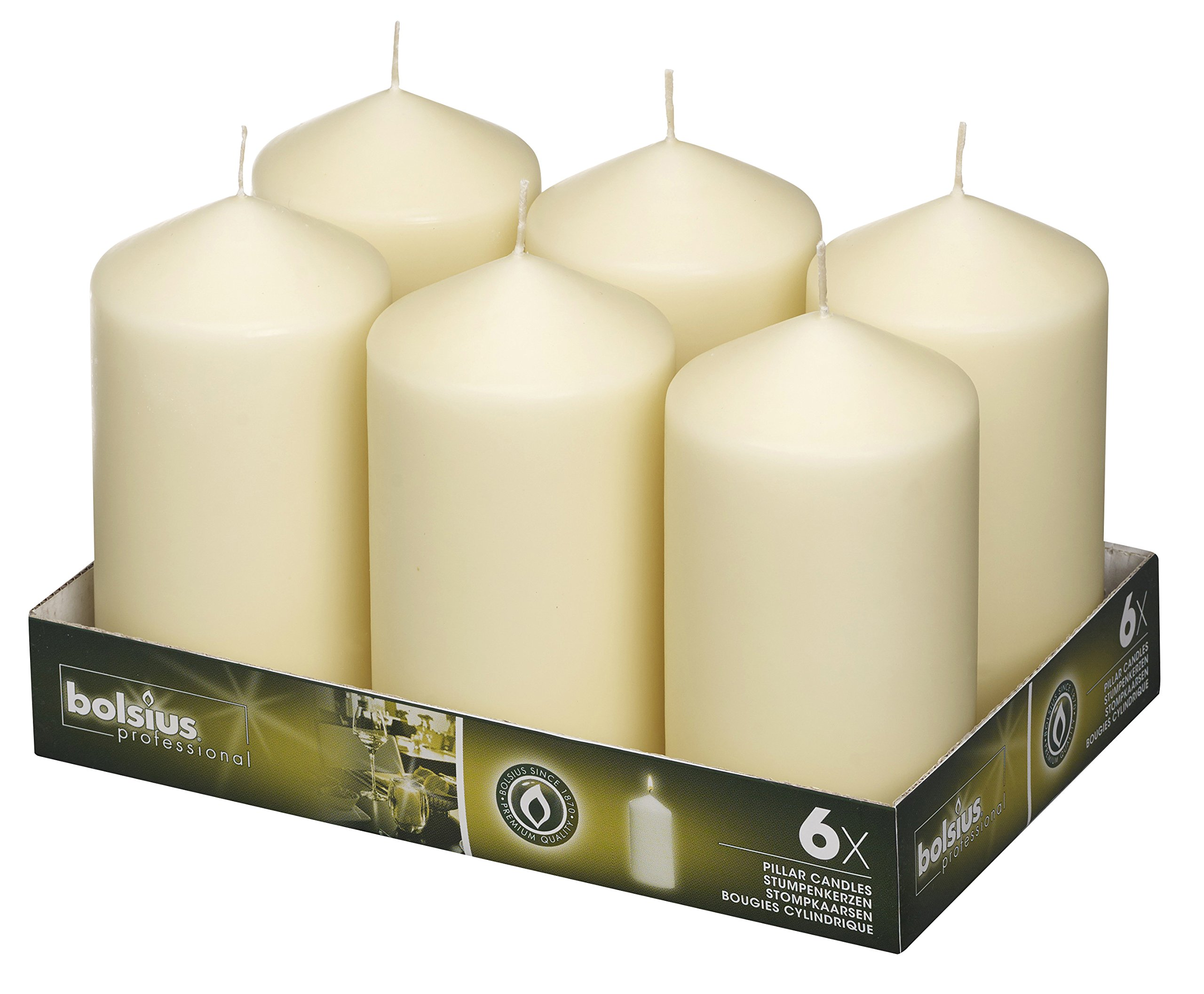 BOLSIUS Tray of 6 Ivory Pillar Candles - 65 Long Burning Hours Candle Set - 3-inch x 6-inch Dripless Candle - Perfect for Wedding Candles, Parties and Special Occasions by BOLSIUS