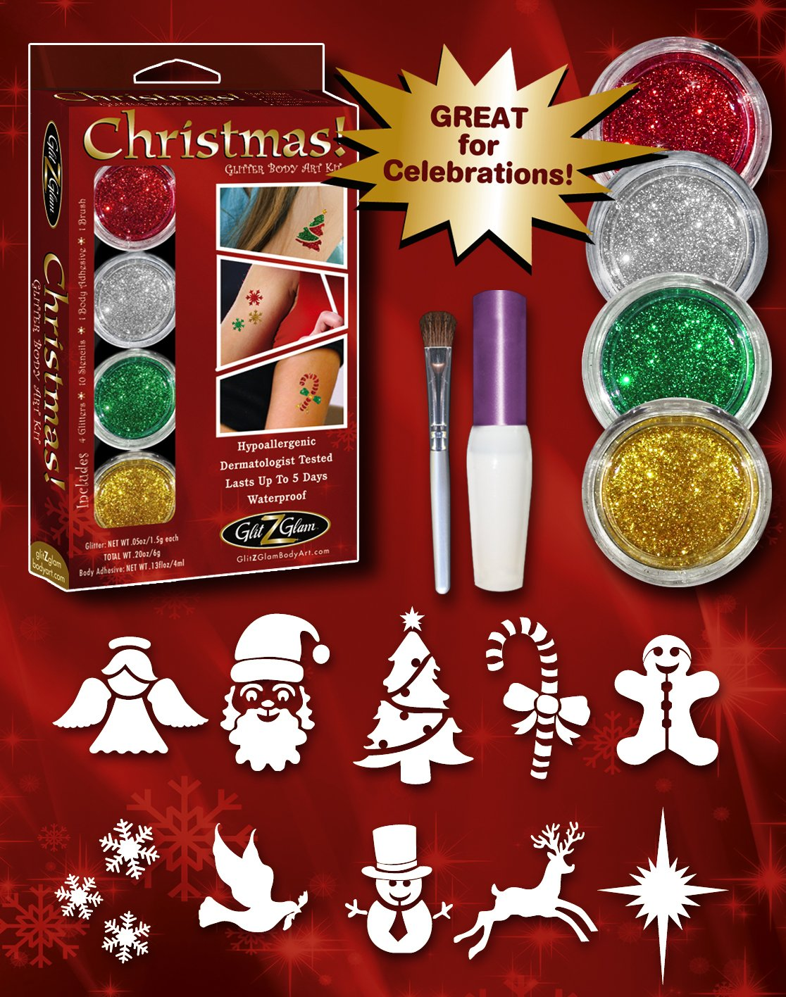 Christmas Glitter Tattoo Kit - HYPOALLERGENIC and DERMATOLOGIST TESTED! by GlitZGlam