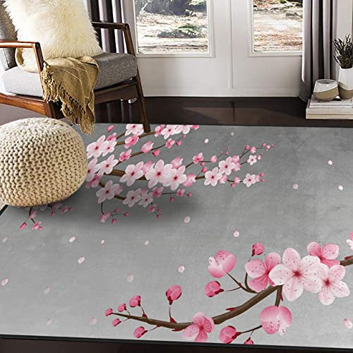 ALAZA Japanese Oriental Cherry Blossom Area Rug Rugs
