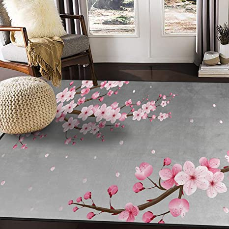 Alaza Japanese Oriental Cherry Blossom Area Rug Rugs For Living Room Bedroom 7 X 5 Kitchen Dining