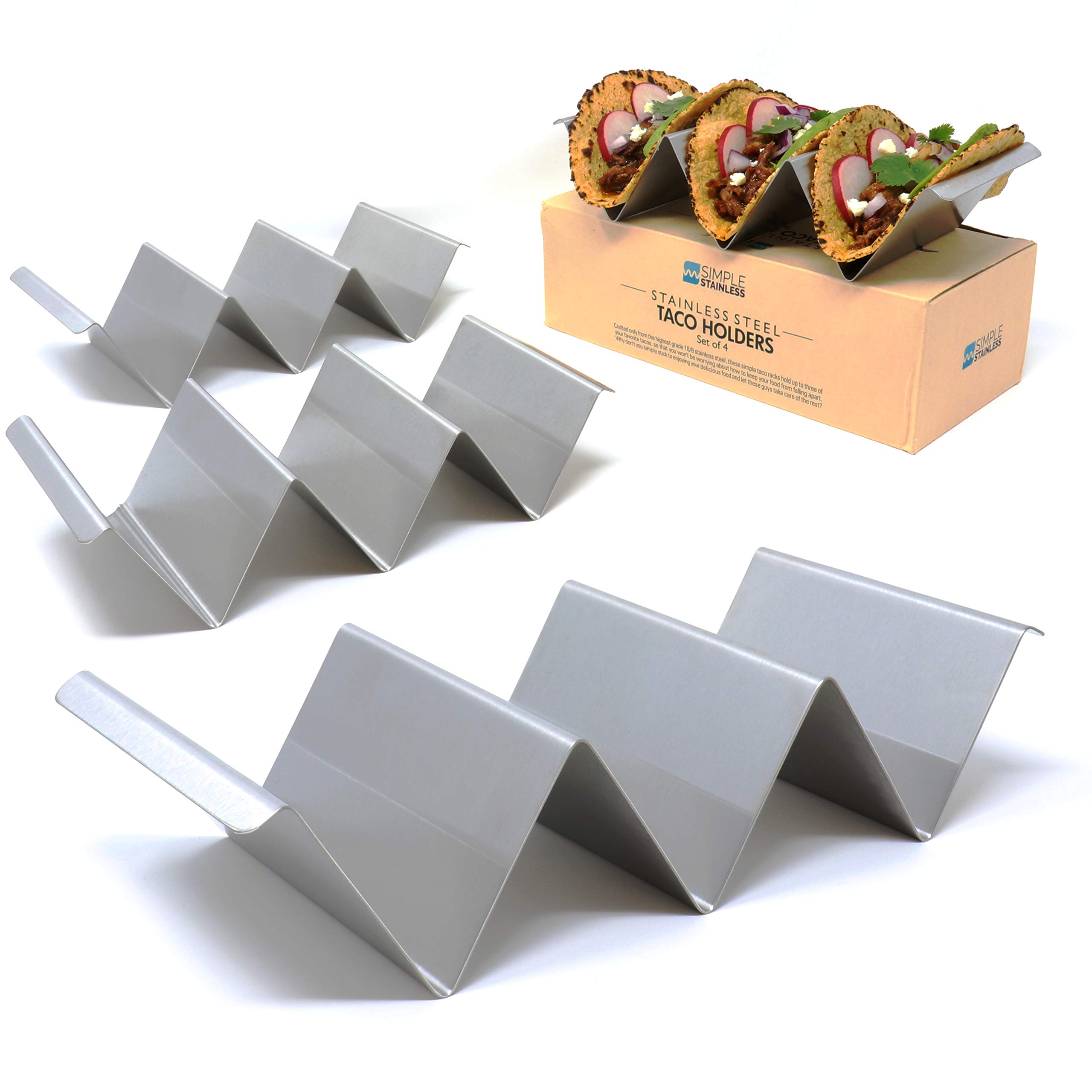 Taco Holder Stands with Handles - Set of 4 - Crafted from Food Grade Stainless Steel - Each Rack Holds 3 Tacos/Tortillas - Compact Design with Handles - For Restaurant & Home Use - By SimpleStainless by SimpleStainless