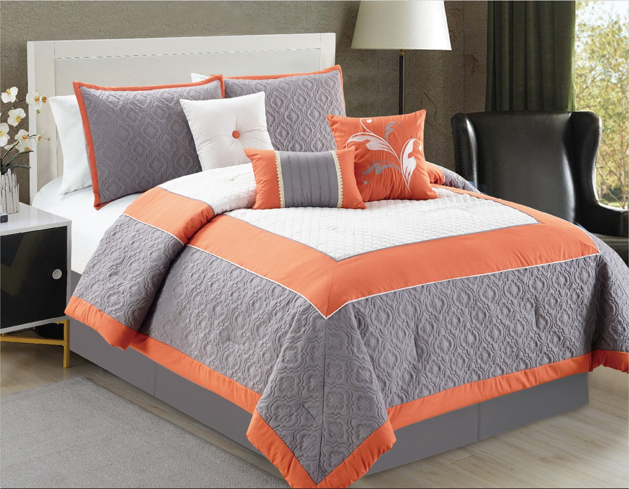 Modern 7 Piece QUEEN Bedding Orange / White / Grey Color Block Quilted Comforter Set