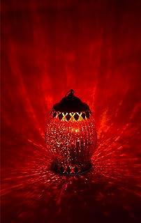 Farol LED, 18 cm de altura, vidrio, rojo
