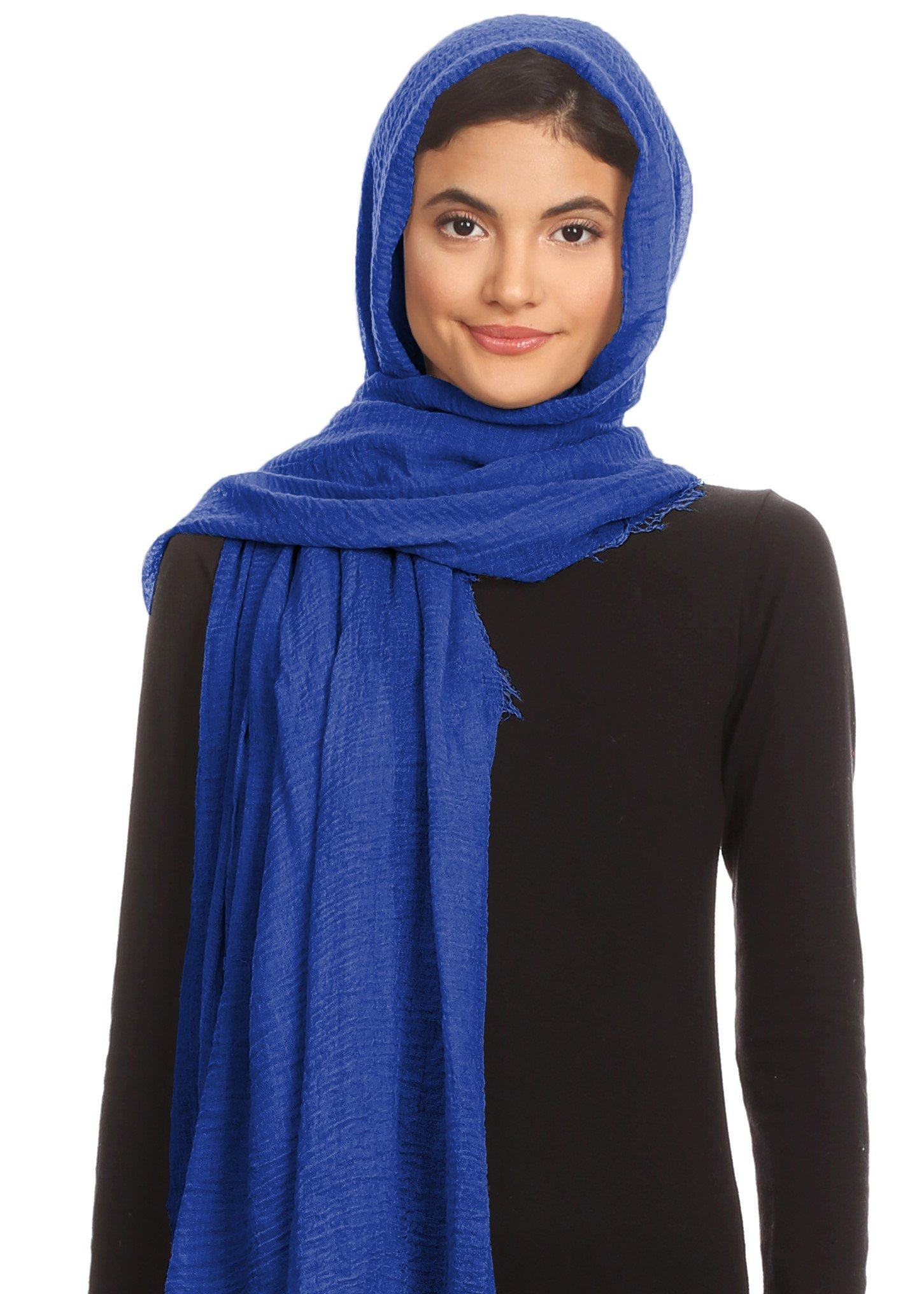 Abeelah Cotton Crinkle Hijab Scarf- Muslim, Indian, African Fashion Compatible (Royal Blue)