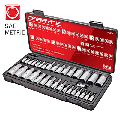 CARBYNE 33 Piece Master Hex Bit Socket Set, S2 Steel Bits | SAE & Metric: Home Improvement