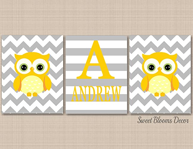 Amazon.com: Owl Nursery Décor Wall Art,Yellow Gray Owl Wall Art,Boy ...