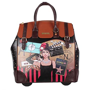 Amazon.com | Nicole Lee Women's Exclusive Hollywood Print Rolling ...
