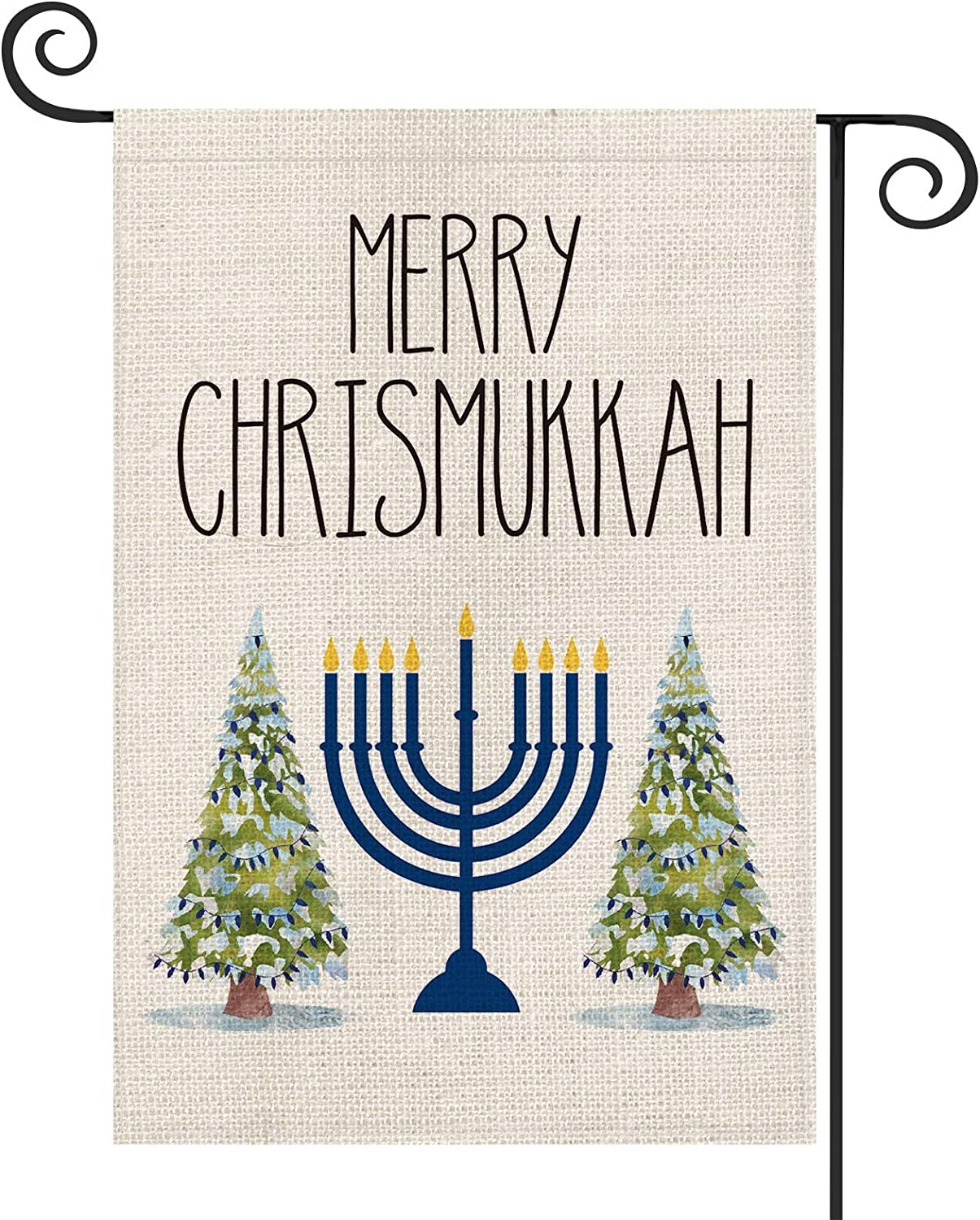 AVOIN Merry Chrismukkah Menorah Christmas Tree Garden Flag Vertical Double Sized, Winter Holiday Jewish Party Yard Outdoor Decoration 12.5 x 18 Inch