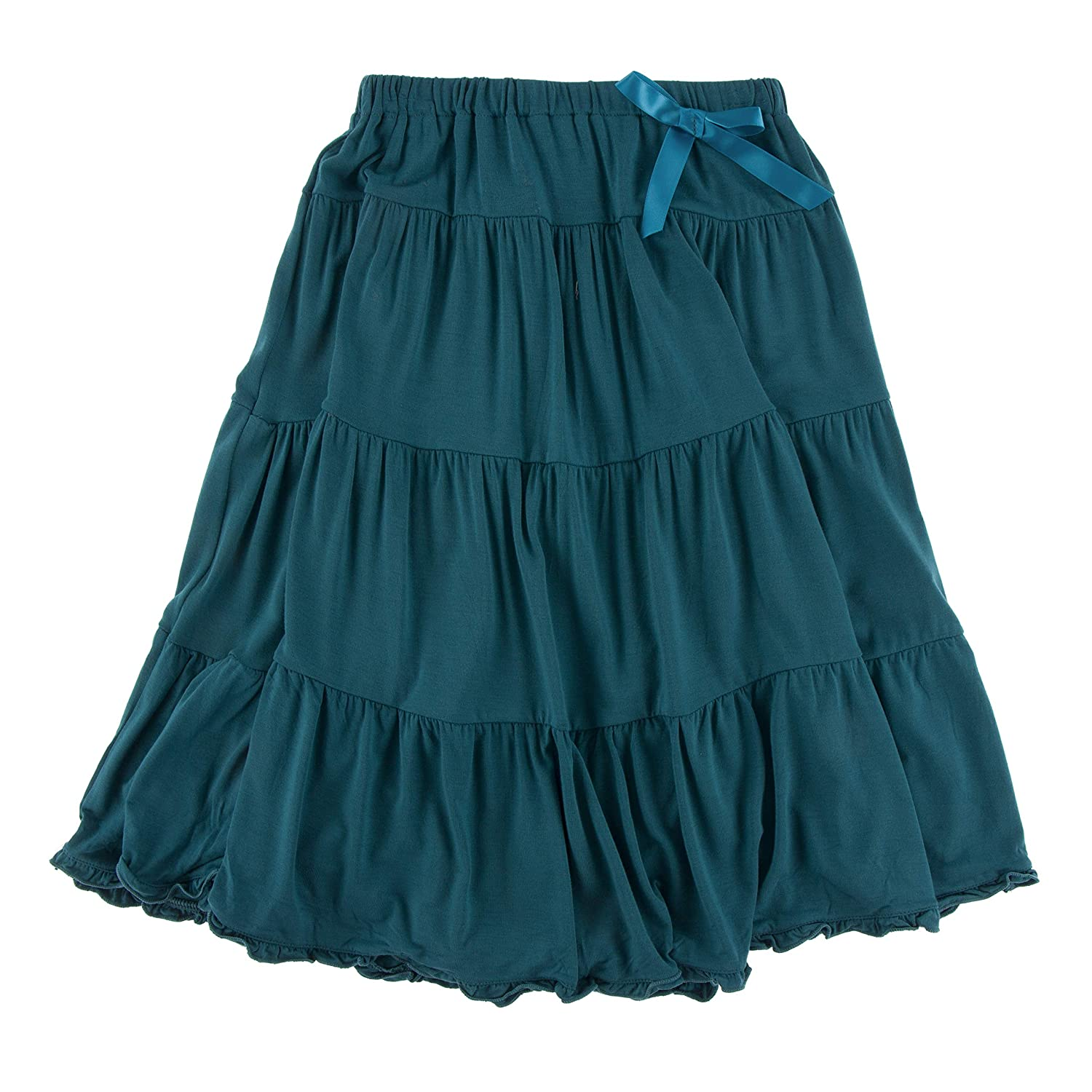 KicKee Pants Solid Long Tiered Skirt in Oasis 2T