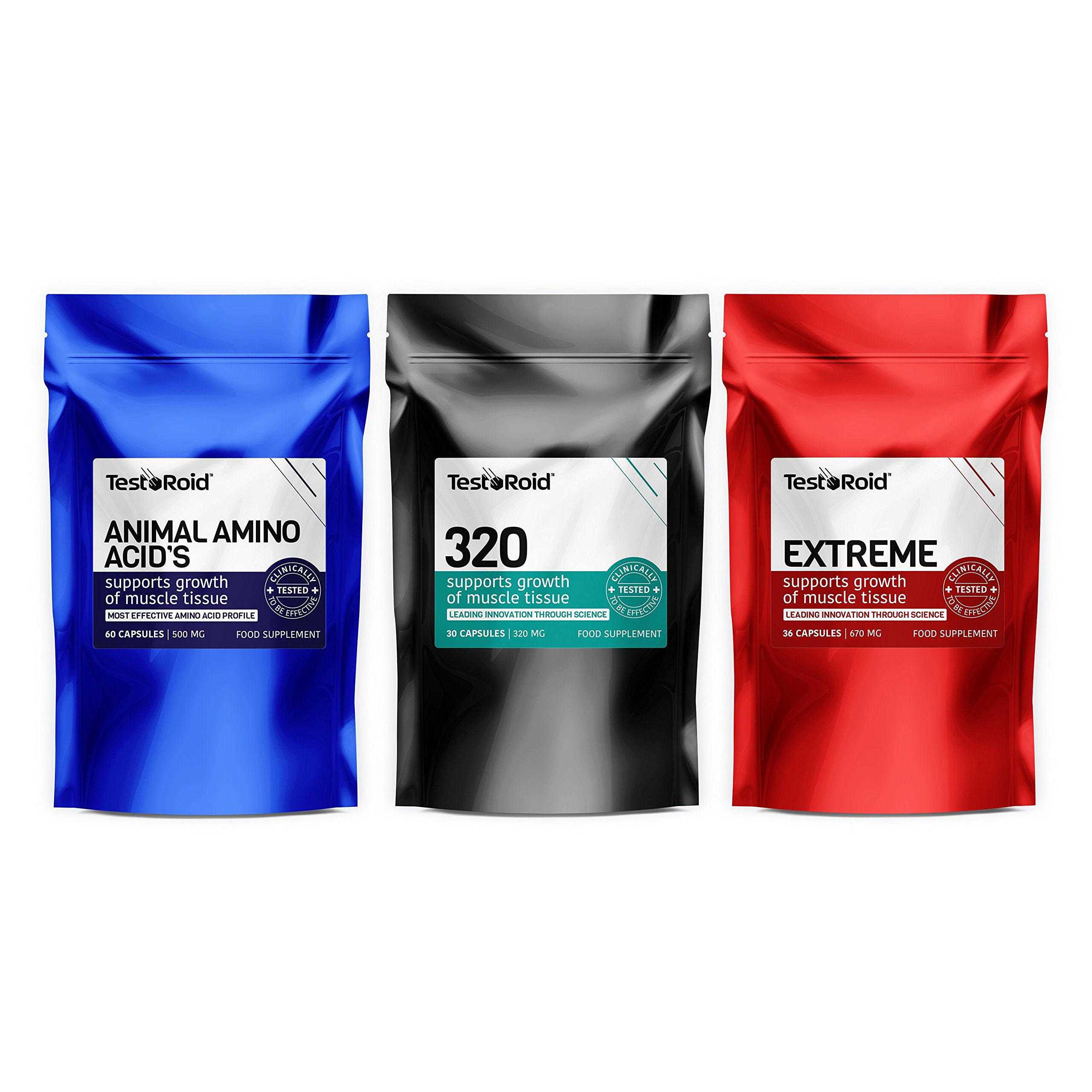TESTOROID TESTOSTERONE & AMINO ACIDS BOOSTER TRIO EXTREME RESULTS 100% SAFE BUILD MUSCLE