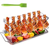 Chicken Leg Wing Grill Rack, BBQ Chicken Drumsticks Rack Stainless Steel Roaster Stand with Drip Pan, Hang Up to 14…