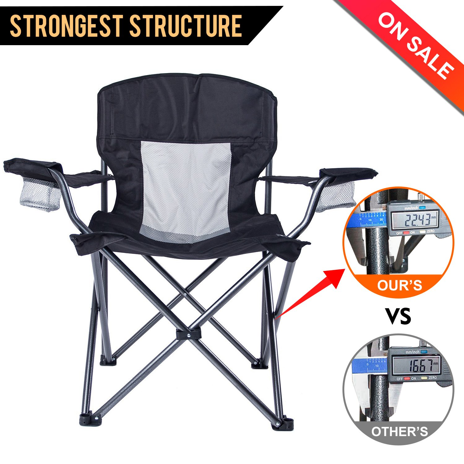 LCH折りたたみ椅子アウトドアキャンプQuad Chair Heavy Duty Deluxe with Two Cup Houlders andアームレストオーバーサイズハイバックサポート300lbsポータブルwith Carryバッグ B078KCP61C  ブラック