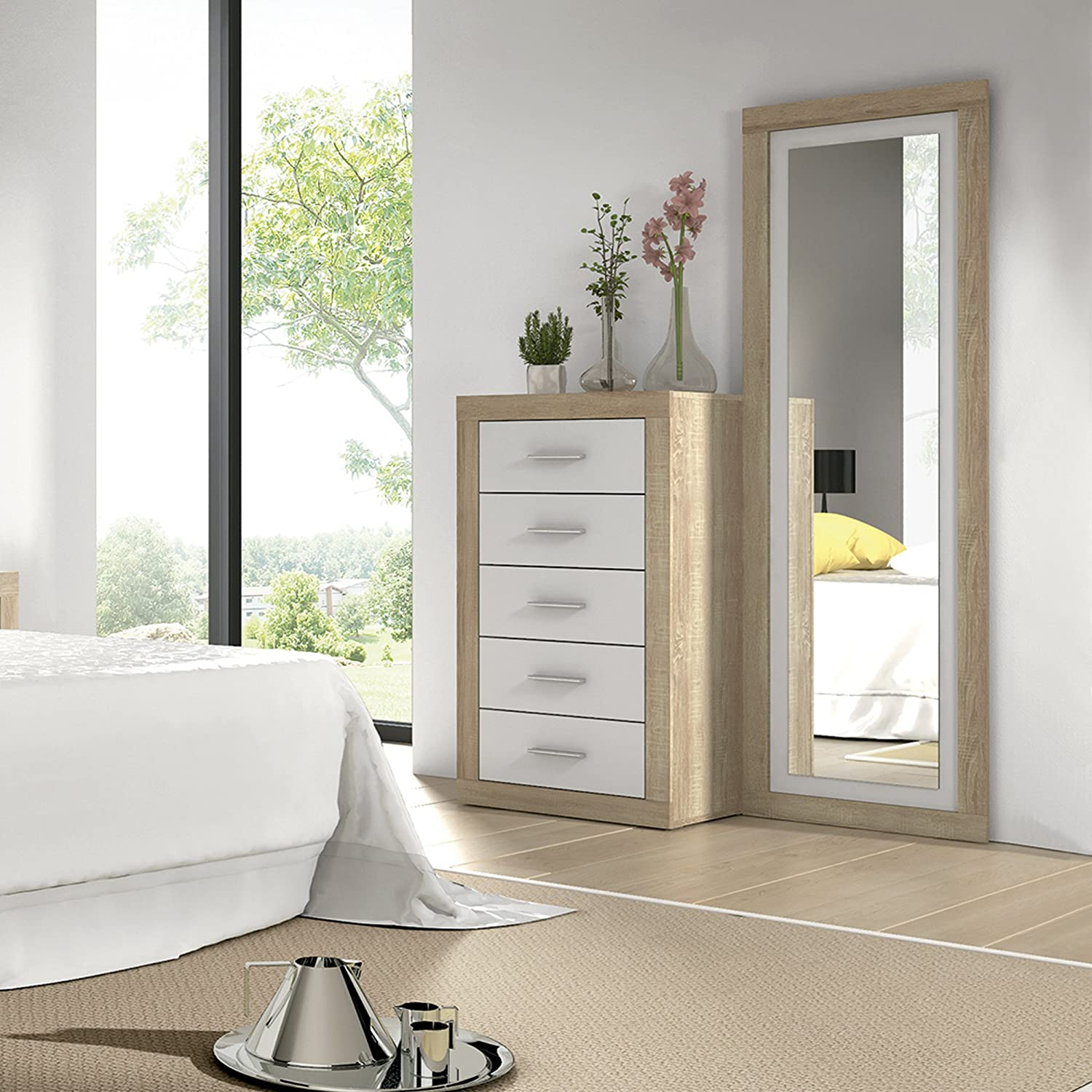 HomeSouth - cinco cajones, comoda dormitorio modelo Lara, color Cambria y Blanco