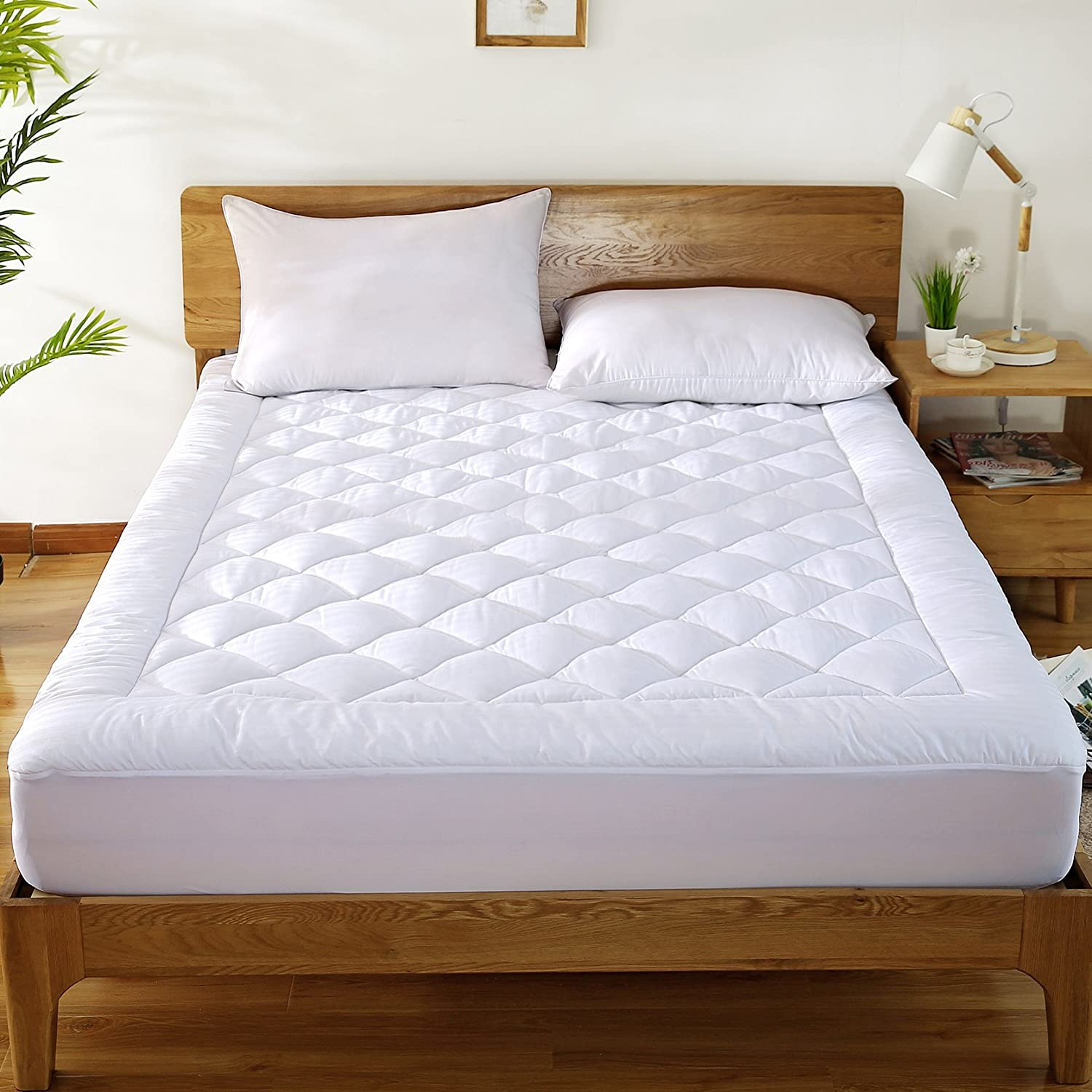 "Mattress Pad Cover with 18"" Deep Pocket 300TC Cotton Down Mattress Topper By HYPNOS Mattress Topper"