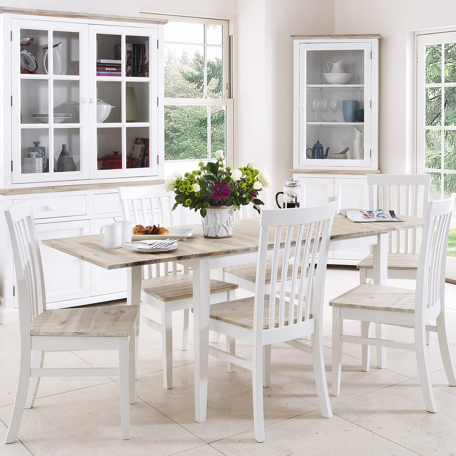 Florence Extending Table and 10 Chairs Set. Kitchen Dining Table and Chair  Set in White Colour with limed Hardwood Table top