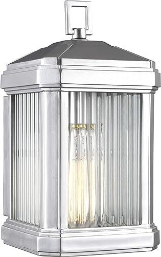 Sea Gull Lighting 8647431-753 Medium One Light Outdoor Wall Lantern, Rectangular, Painted Brushed Nickel