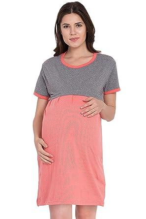 2546fd2f1c9d0 Fflirtygo Women's Cotton Orange & Grey Feeding Long top/Nursing/Maternity/Night  Dress