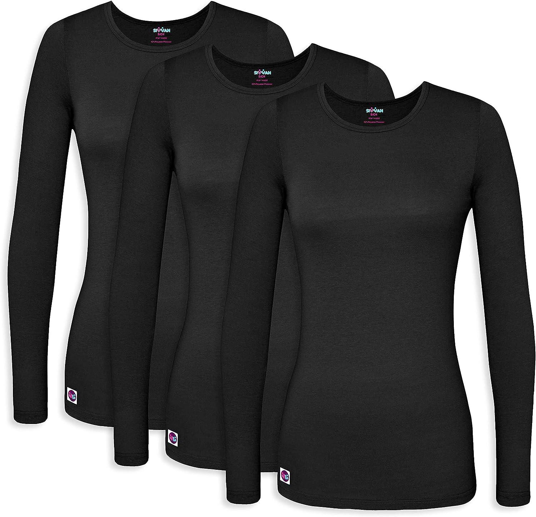 Sivvan 3 Pack Women's Comfort Long Sleeve T-Shirt/Underscrub Tee