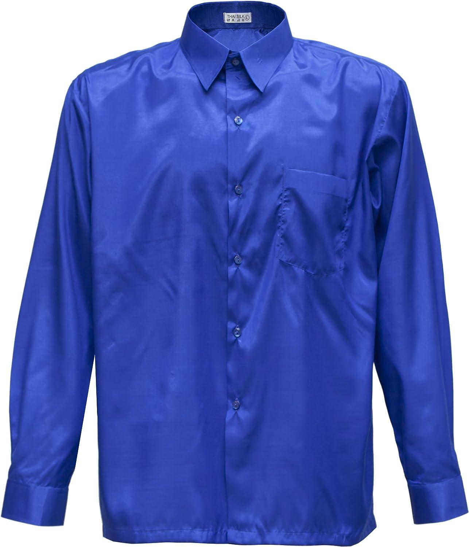 Hombres camisa de manga larga de seda tailandesa azul, azul, xxx-large: Amazon.es: Hogar