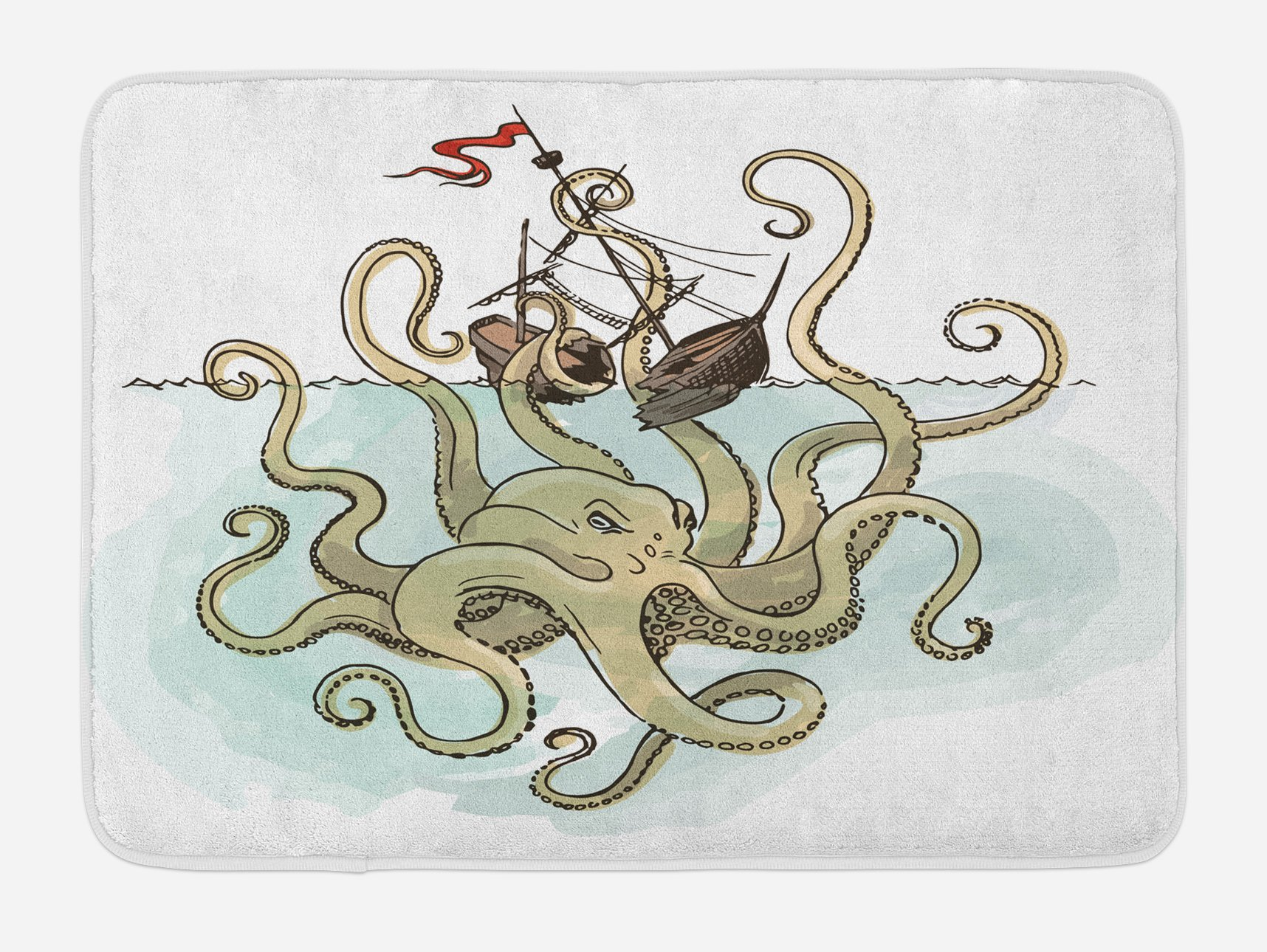 Ambesonne Kraken Bath Mat, Octopus Sinking The Pirate Ships Greek Myth Fish Culture Cartoon Artwork Image, Plush Bathroom Decor Mat with Non Slip Backing, 29.5 W X 17.5 W Inches, Tan Pale Green
